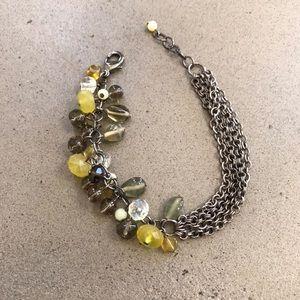 New, Anthropologie Green & Silver Beaded Bracelet